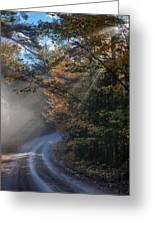 Misty Turn In The Road Greeting Card