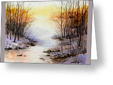 Misty Winter Stream Greeting Card