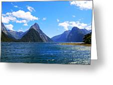 Mitre Peak In Milford Sound New Zealand Greeting Card