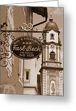 Mittenwald Cafe Sign In Sepia Greeting Card