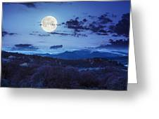 Mixed Forest Near Valley In Mountains  On Hillside At Night Greeting Card