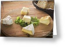 Mixed French Cheese Platter With Bread Greeting Card