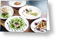 Mixed Modern Gourmet Fusion Food Dishes On Table Greeting Card