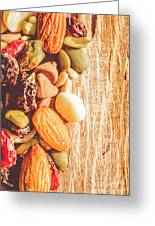 Mixed Nuts On Wooden Background Greeting Card