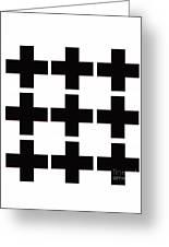 Mod Black And White Swiss Cross Mid Century Modern Design Greeting Card
