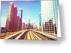 Modern Architecture Of Dubai Seen From A Metro Car. Greeting Card