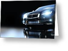 Modern Black Metallic Sedan Car In Spotlight. Banner Greeting Card