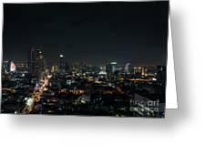 Modern Buildings In Silom Area Of Bangkok Thailand At Night Greeting Card
