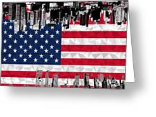 Modern City Scape American Flag Greeting Card