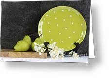 Modern Green And White Polka Dot Kitchen Greeting Card