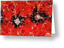 Modern Red Poppies - Sharon Cummings Greeting Card