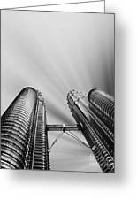 Modern Skyscraper Black And White  Greeting Card