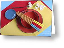 Modern Take On Traditional Japanese Oriental Place Setting Greeting Card