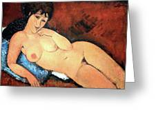 Modigliani's Nude On A Blue Cushion Greeting Card