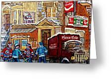 Moe's Corner Snack Bar And Diner Montreal Landmark  Restaurant Canadian Art Carole Spandau Greeting Card