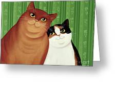 Moggies Greeting Card by Magdolna Ban