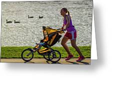 Moher And Child Jogging Greeting Card