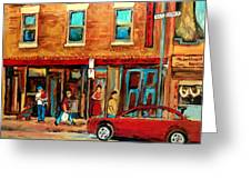 Moishes Steakhouse On The Main By Montreal Streetscene Painter Carole  Spandau  Greeting Card