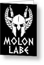 Molon Labe Spartan Warrior Helmet Rifles Greeting Card