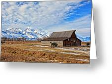 Molten Barn And Tetons 4 Greeting Card