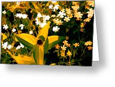 Molten Gold Flowers Greeting Card