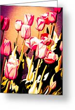 Molten Gold Tulips Greeting Card