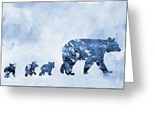 Mom And Baby Bears-blue Greeting Card