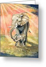 Mom And Baby Elephant Greeting Card