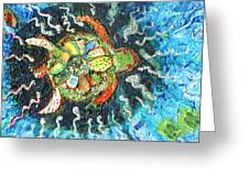 Mom There Is A Turtle In The Swimming Pool II Greeting Card by Anne-Elizabeth Whiteway