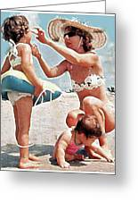 Mom With Girls At Beach Greeting Card
