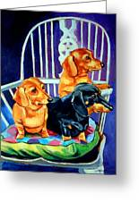 Mom's In The Kitchen - Dachshund Greeting Card by Lyn Cook