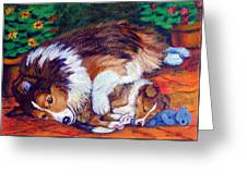 Mom's Love - Shetland Sheepdog Greeting Card by Lyn Cook
