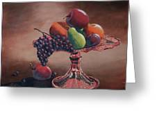 Mom's Pink Dish With Fruit Greeting Card