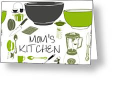 Moms Retro Kitchen Cookware Greeting Card