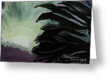 Moon Behind The Palm Tree Greeting Card by Marie Bulger