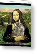 Mona Lisas Norwegian Forest Cat Greeting Card