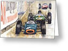 Monaco Gp 1964 Brm Brabham Ferrari Greeting Card by Yuriy  Shevchuk