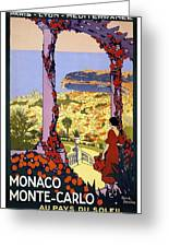 Monaco, Monte Carlo, View From Hotel Terrace Greeting Card
