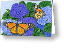 Monarch Butterflies And Hydrangeas Greeting Card