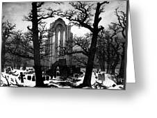 Monastery Graveyard In The Snow Cdf Greeting Card