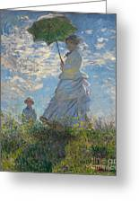 Monet , Woman With A Parasol  Greeting Card