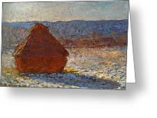 Monet Claude Haystack Snow Effect  Cat Greeting Card