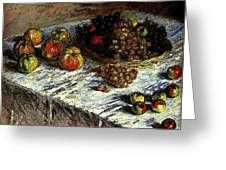 Monet Claude Still Life Apples And Grapes Greeting Card