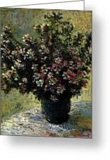 Monet Claude Vase Of Flowers Greeting Card