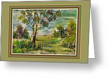 Monetcalia Catus 1 No. 3 Landscape Scene Near Fontainebleau L B With Alt. Decorative Printed Frame. Greeting Card
