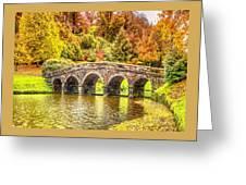 Monetcalia Catus 1 No. 9 - Monet Decides To Paint The Arched Bridge At Stourhead. L A S Greeting Card