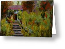 Monet's Garden Cottage Greeting Card