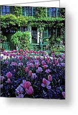 Monet's House With Tulips Greeting Card