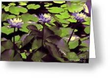 Monets Lillies Greeting Card by Karen Lewis
