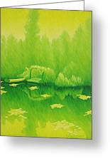 Monets Lily Pond In Yellow Giverny France Greeting Card